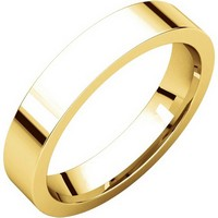 18K Gold Plain 4 mm Wide His or Hers Wedding Ring