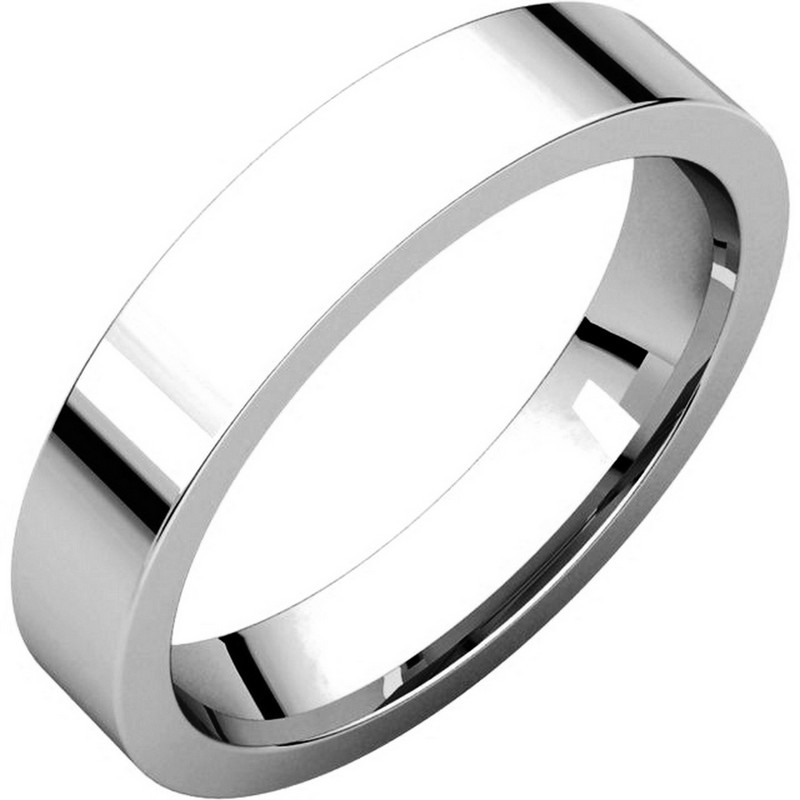 Item # 117211PP - Platinum Plain 4.0 mm Wide Flat Comfort Fit Wedding Band. The whole ring is polished. Different finishes may be selected or specified.