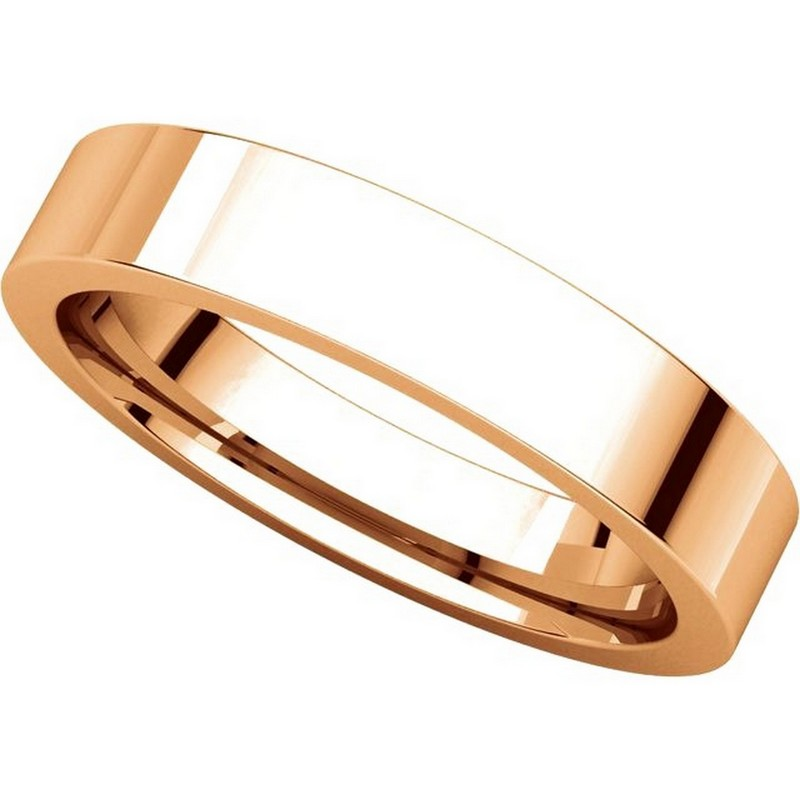 Item # 117211RE View 4 - 18K Rose Gold Plain 4mm Comfort Fit Wedding Ring