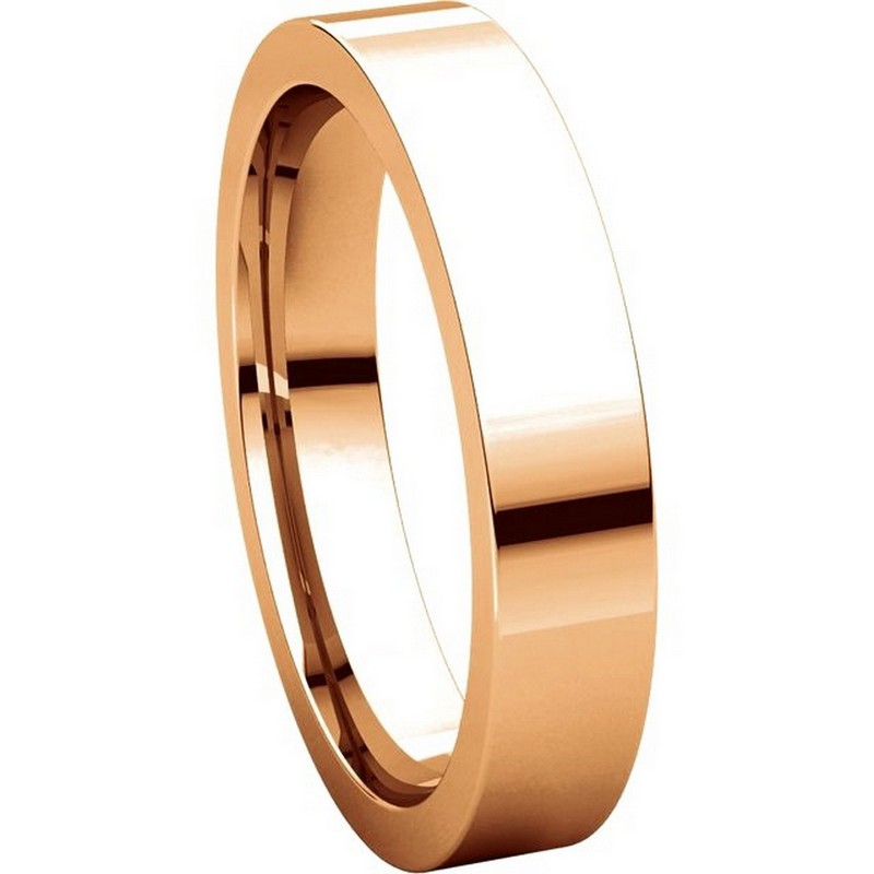 Item # 117211RE View 5 - 18K Rose Gold Plain 4mm Comfort Fit Wedding Ring