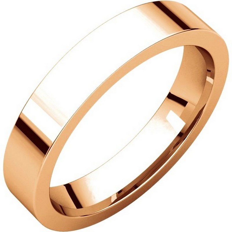Item # 117211RE - 18 kt Rose Gold Plain 4.0 mm Wide Flat Comfort Fit Wedding Band. The whole ring is polished. Different finishes may be selected or specified.