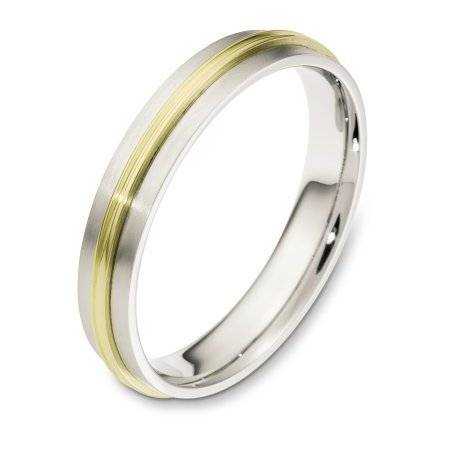 Item # 117231 - 14 kt two-tone hand made comfort fit Wedding Band 4.0 mm wide. The raised portion of the band is polished and the rest is a matte finish. Different finishes may be selected or specified.