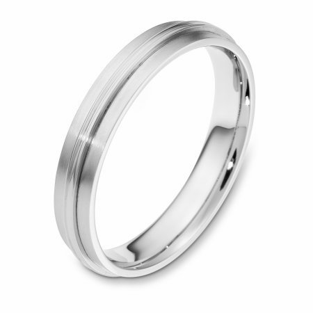 Item # 117231W - 14 kt white gold, hand made comfort fit Wedding Band 4.0 mm wide. The raised portion of the band is polished and the rest is a matte finish. Different finishes may be selected or specified.