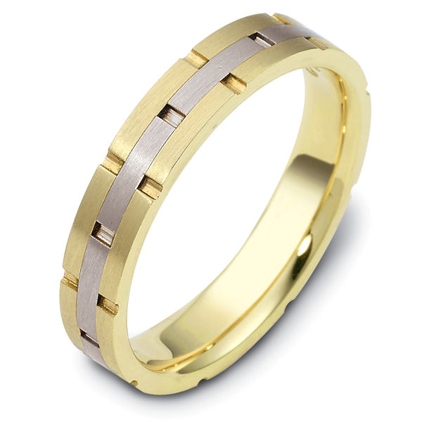 Item # 117241E - 18 kt two-tone hand made comfort fit Wedding Band 4.0 mm wide. The ring has carved notches around the band and is a matte finish. Different finishes may be selected or specified.