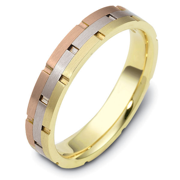 Item # 117251 - 14K tri-color, hand made comfort fit wedding band 4.0 mm wide. The ring has carved notches around the band and is a matte finish. Different finishes may be selected or specified.