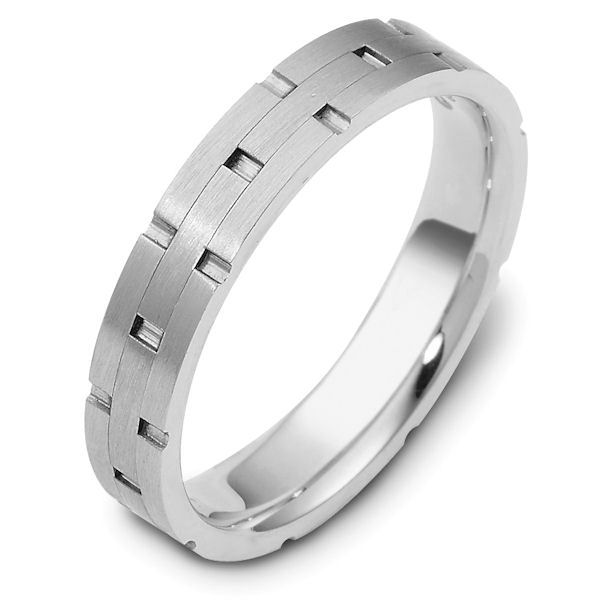 Item # 117251PP - Platinum hand made comfort fit wedding band 4.0 mm wide. The ring has carved notches around the band and is a matte finish. Different finishes may be selected or specified.