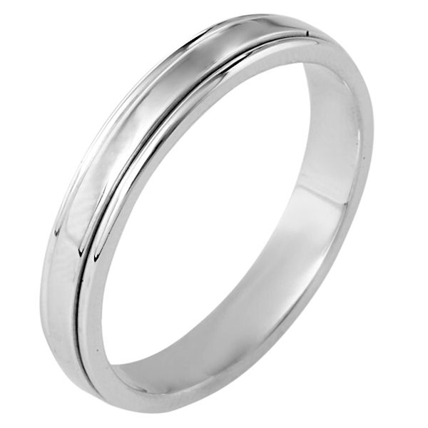 Item # 117281WE - 18 kt white gold, hand made comfort fit Wedding Band 4.0 mm wide. The ring has a polished finish. Different finishes may be selected or specified.