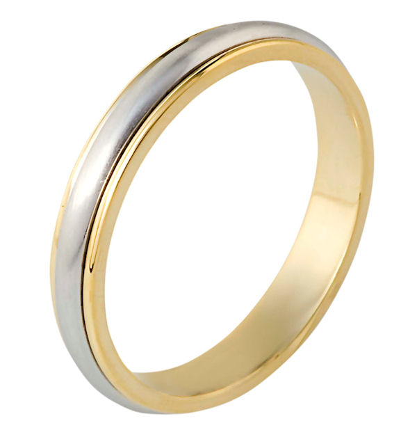 Item # 117291E - 18 kt two-tone hand made comfort fit Wedding Band 4.0 mm wide. The center of the ring is a matte finish and the outer edges are polished.
