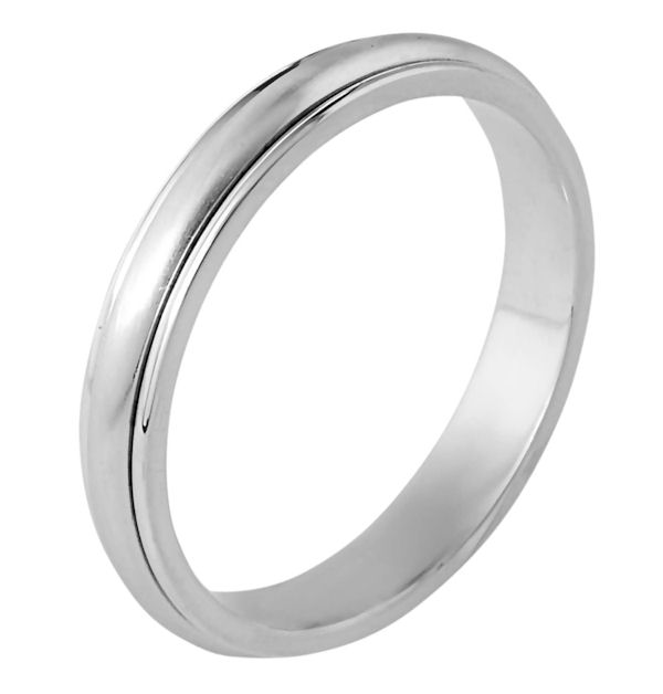 Item # 117291WE - 18 kt white gold, hand made comfort fit Wedding Band 4.0 mm wide. The center of the ring is a matte finish and the outer edges are polished.