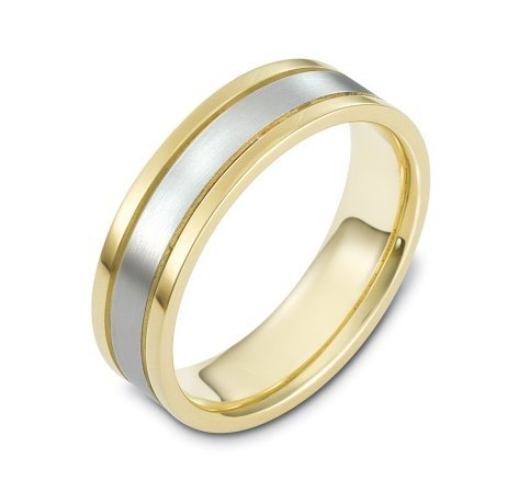 Item # 117301E - 18 kt two-tone hand made comfort fit Wedding Band 6.0 mm wide. The center of the ring is a matte finish and the outer edges are polished.
