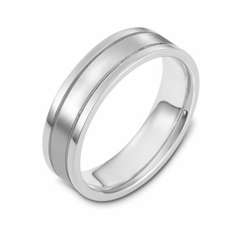 Item # 117301WE - 18 kt white goldd, hand made comfort fit Wedding Band 6.0 mm wide. The center of the ring is a matte finish and the outer edges are polished.