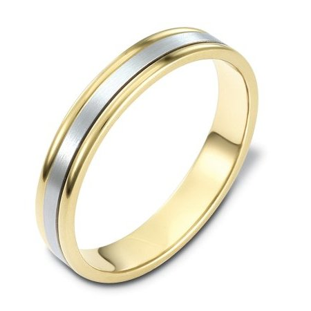 Item # 117321 - 14 kt two-tone hand made comfort fit Wedding Band 4.0 mm wide. The center of the ring is a matte finish and the outer edges are polished.