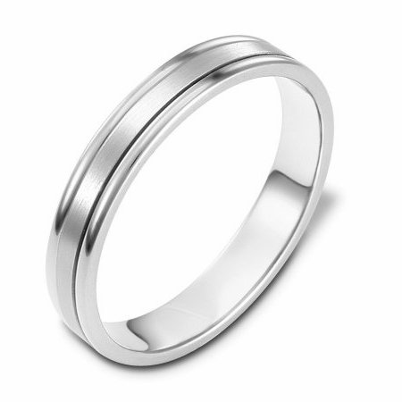 Item # 117321WE - 18 kt kt white gold, hand made comfort fit Wedding Band 4.0 mm wide. The center of the ring is a matte finish and the outer edges are polished.