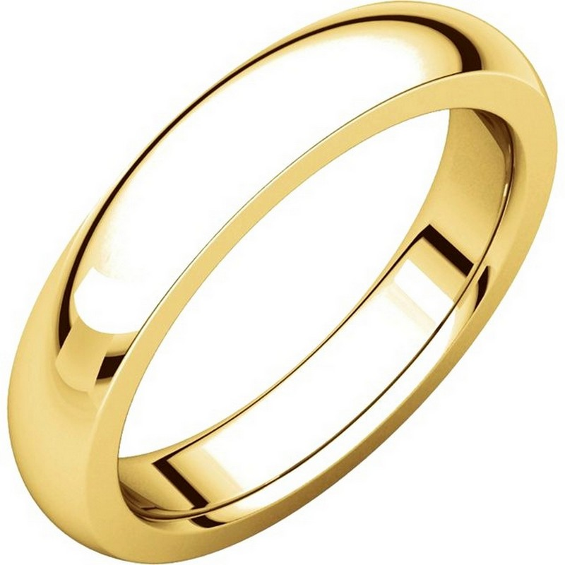 Item # 117331 - 14 kt yellow gold 4.5 mm wide and 2.55 mm thick heavy comfort fit Wedding Band. The ring is a polished finish. Different finishes may be selected or specified.