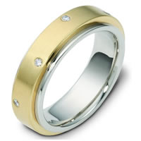 Item # 117681E - 18K Diamond Wedding Band, Rotating Center