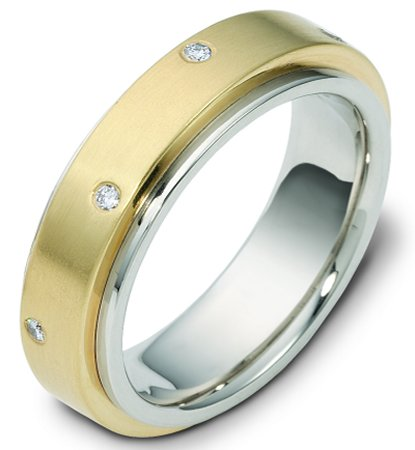 Item # 117681E - 18 K gold center rotating, 9.0 mm wide diamond spinning wedding band. Diamond total weight is 0.40 ct in size six. Diamonds are graded as VS in clarity H in color. The center of the ring is spinning and is a matte finish. The outer edges are polished. Different finishes may be selected or specified.