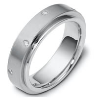 Item # 117681PD - Palladium Diamond Wedding Band, Rotating Center