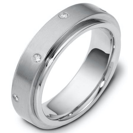 Item # 117681WE - 18 K white gold center rotating, 9.0 mm wide diamond spinning wedding band. Diamond total weight is 0.40 ct in size six. Diamonds are graded as VS in clarity H in color. The center of the ring is spinning and is a matte finish. The outer edges are polished. Different finishes may be selected or specified.