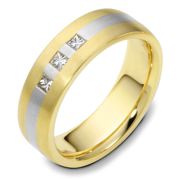 Item # 117721E - 18K two-tone, 5.5 mm wide. comfort fit, princess cut diamond ring. Diamond is 0.21 ct and graded as VS1 in clarity G in color. The ring is a brush finish. Different finishes may be selected or specified.