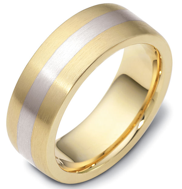 Item # 117731PE - Platinum and 18 K, hand made, comfort fit Wedding Band 7.5 mm wide. The ring is a brush finish. Different finishes may be selected or specified.