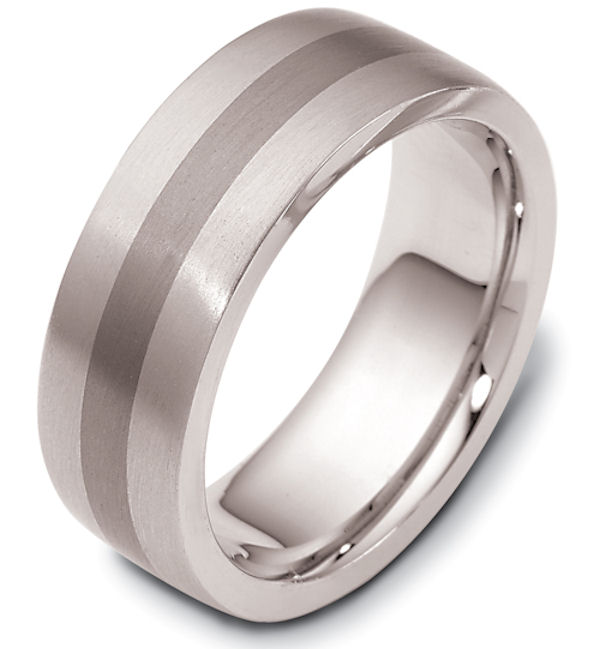 Item # 117731TG - 14 kt white gold and titanium, comfort fit Wedding Band 7.5 mm wide. The ring is a brush finish. Different finishes may be selected or specified.