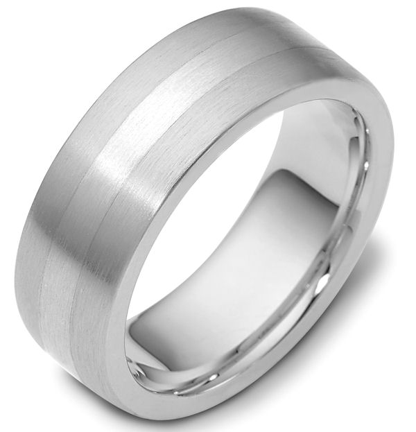 Item # 117731W - 14 kt white gold, hand made comfort fit Wedding Band 7.5 mm wide. The ring is a brush finish. Different finishes may be selected or specified.