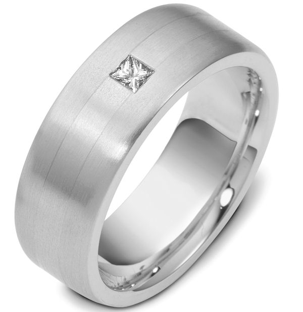 Platinum Diamond Wedding Band, (0.13ct.)
