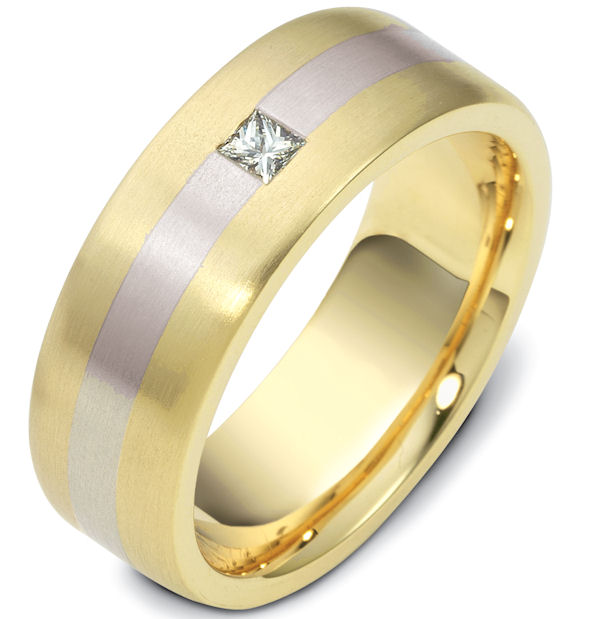 Item # 117741E - 18K two-tone, 7.5 mm wide. comfort fit, diamond ring. Diamond is 0.13 ct and graded as VS1 in clarity G in color. The ring is a brush finish. Different finishes may be selected or specified.