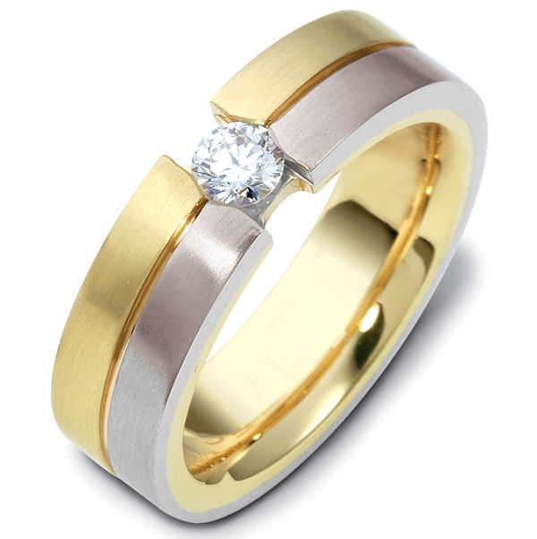Item # 117761E - 18kt Two-tone gold diamond, comfort fit, 6.0mm wide wedding band. The ring holds one round brilliant cut diamond that is 0.22 ct, VS1-2 in clarity and G-H in color. The ring has a matte finish. Different finishes may be selected.