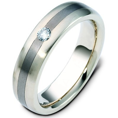 Titanium-Gold Diamond Wedding Band