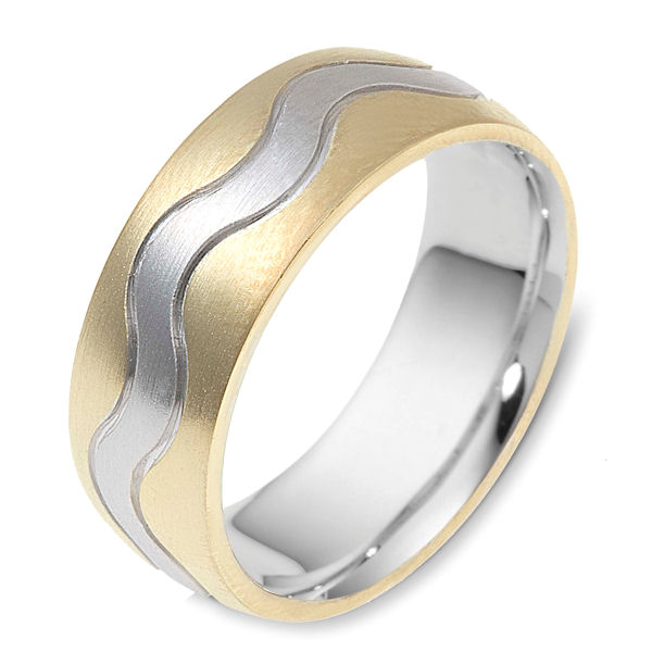 Item # 117811 - 14 kt two-tone hand made comfort fit Wedding Band 8.5 mm wide. The ring is a brush finish. Different finishes may be selected or specified.