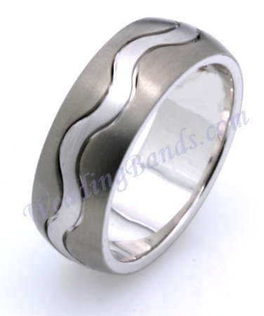 Item # 117811TG - 14K White gold and titanium, comfort fit, 8.5 mm wide ring. The ring is a brush finish. Different finishes may be selected or specified.