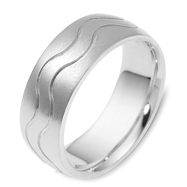 Item # 117811W - 14 kt white gold, hand made comfort fit Wedding Band 8.5 mm wide. The ring is a brush finish. Different finishes may be selected or specified.