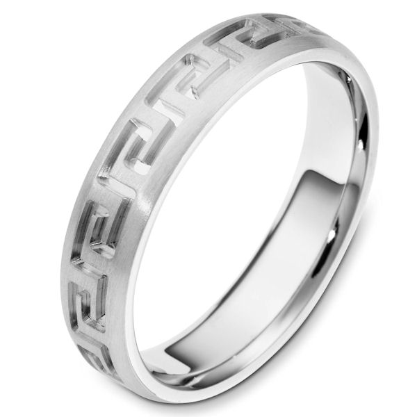 Item # 117941PP - Platinum contemporary greek key, carved, comfort fit, 5.0mm wide wedding band. The ring has a beautiful greek key pattern around the whole band. It is a matte finish, 5.0mm wide, and comfort fit. The grooves are polished. Different finishes may be selected or specified.