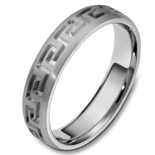 Item # 117941TI - Titanium contemporary greek key, carved, comfort fit, 5.0mm wide wedding band. The ring has a beautiful greek key pattern around the whole band. It is a matte finish, 5.0mm wide, and comfort fit. The grooves are polished. Different finishes may be selected or specified.