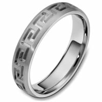 Item # 117941TI - Greek Key Carved Wedding Band