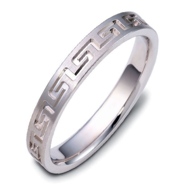 Item # 117944W - 14K white gold, contemporary greek key, carved, comfort fit, 4.0mm wide wedding band. The ring has a beautiful greek key pattern around the whole band. It is a matte finish, 4.0mm wide, and comfort fit. The grooves are polished. Different finishes may be selected or specified.