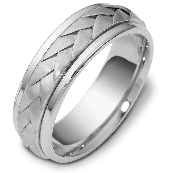 Item # 118081PP - Platinum hand made comfort fit Wedding Band 7.0 mm wide. There is a hand made braid in the center with a brush finish. The outer edges are polished. Different finishes may be selected or specified.