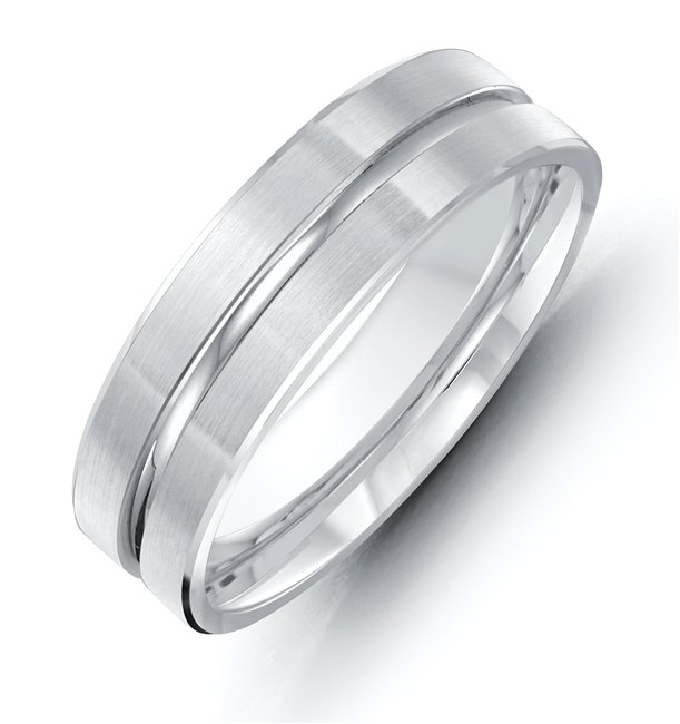 Item # 118091WE - 18 kt white gold, hand made comfort fit Wedding Band 8.0 mm wide. The center groove is a polished finish and the rest of the band is a matte finish. Different finishes may be selected or specified.