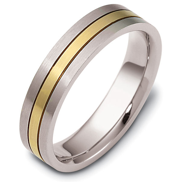 Item # 118231 - 14 kt Gold Two-Tone 5.0 mm Wide Comfort Hand Made Wedding Band. The ring is a matte finish. Different finishes may be selected or specified.