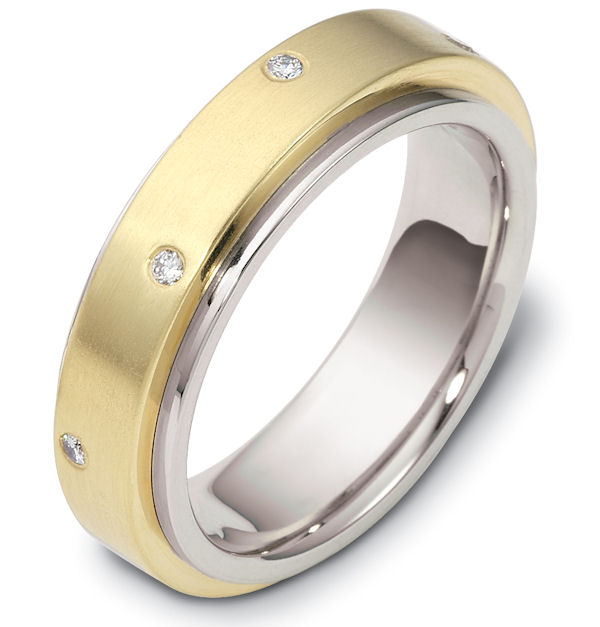 Item # 118351 - 14 K two-tone center rotating, 6.0 mm wide diamond spinning wedding band. Diamond total weight is 0.12 ct in size six. Diamonds are graded as VS in clarity H in color. The center of the ring is spinning and is a matte finish. The outer edges are polished. Different finishes may be selected or specified.