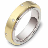 Platinum-18K Gold Diamond, Spinning Wedding Band