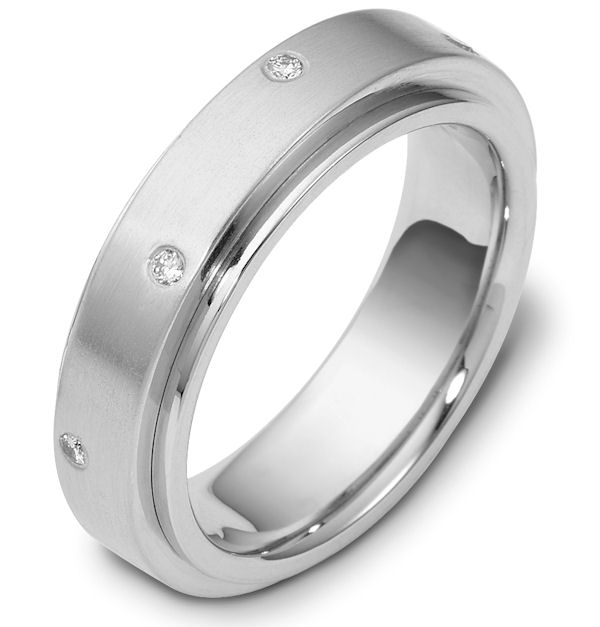 Item # 118351PD - Palladium, rotating, 6.0 mm wide diamond spinning wedding band. Diamond total weight is 0.12 ct in size six. Diamonds are graded as VS in clarity H in color. The center of the ring is spinning and is a matte finish. The outer edges are polished. Different finishes may be selected or specified.