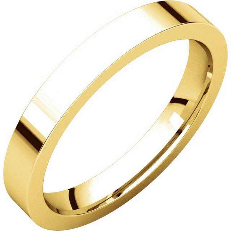 Item # 118381 - 14 kt Gold Plain 3.0 mm Wide Flat Comfort Fit Wedding Band. The ring is a polished finish. Different finishes may be selected or specified.