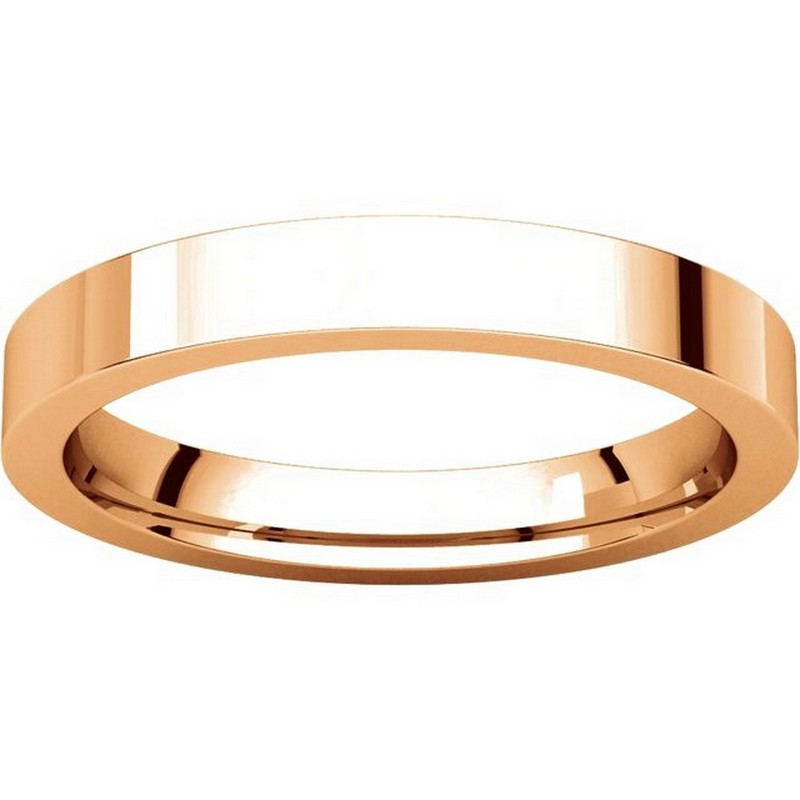 Item # 118381R View 3 - 14K Rose Gold Flat comfort fit 3mm Wedding Band