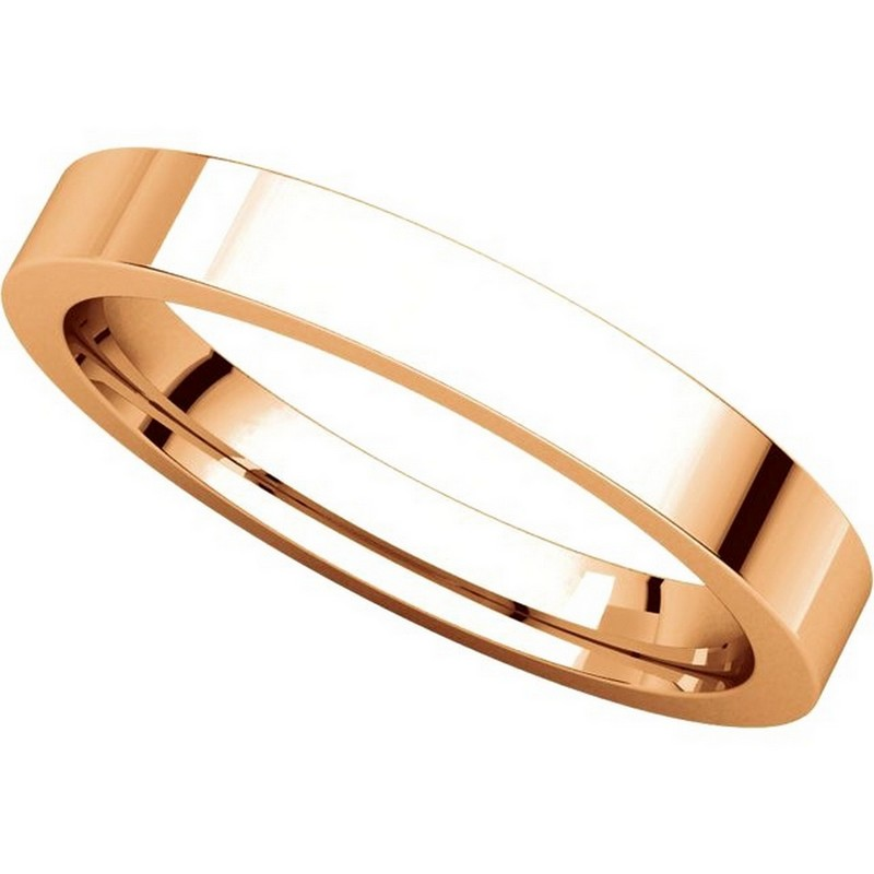 Item # 118381R View 4 - 14K Rose Gold Flat comfort fit 3mm Wedding Band