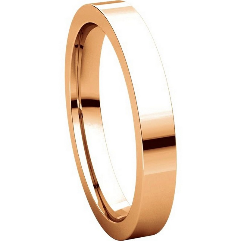 Item # 118381R View 5 - 14K Rose Gold Flat comfort fit 3mm Wedding Band