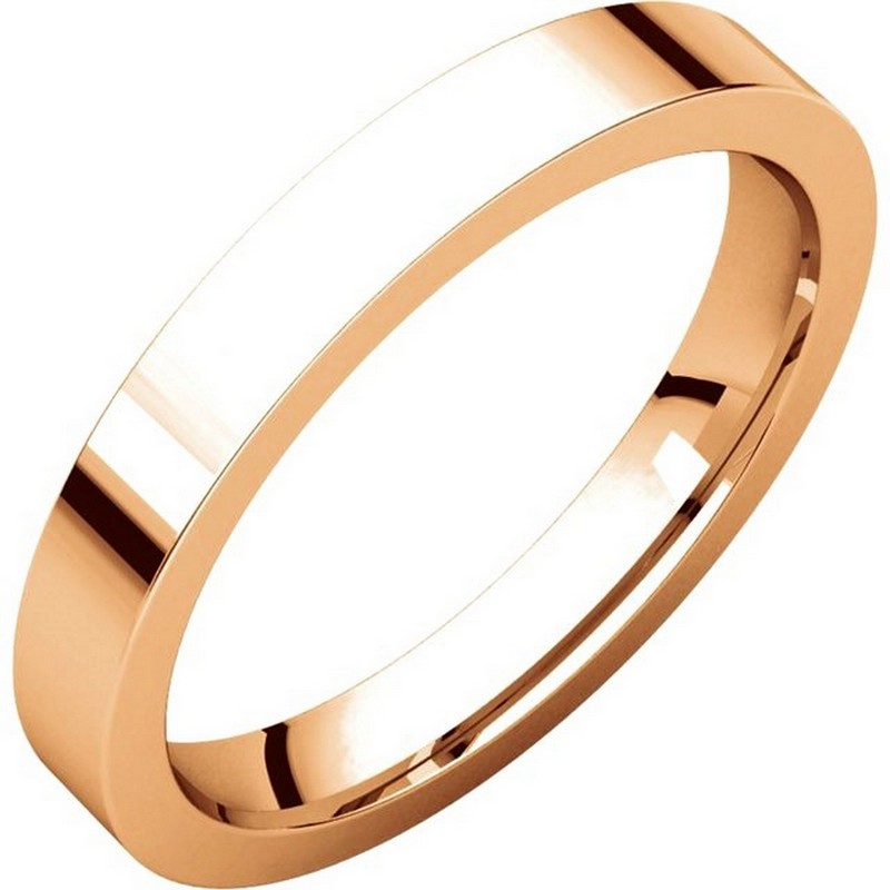 Item # 118381R - 14 kt Rose Gold Plain 3.0 mm Wide Flat Comfort Fit Wedding Band. The ring is a polished finish. Different finishes may be selected or specified.