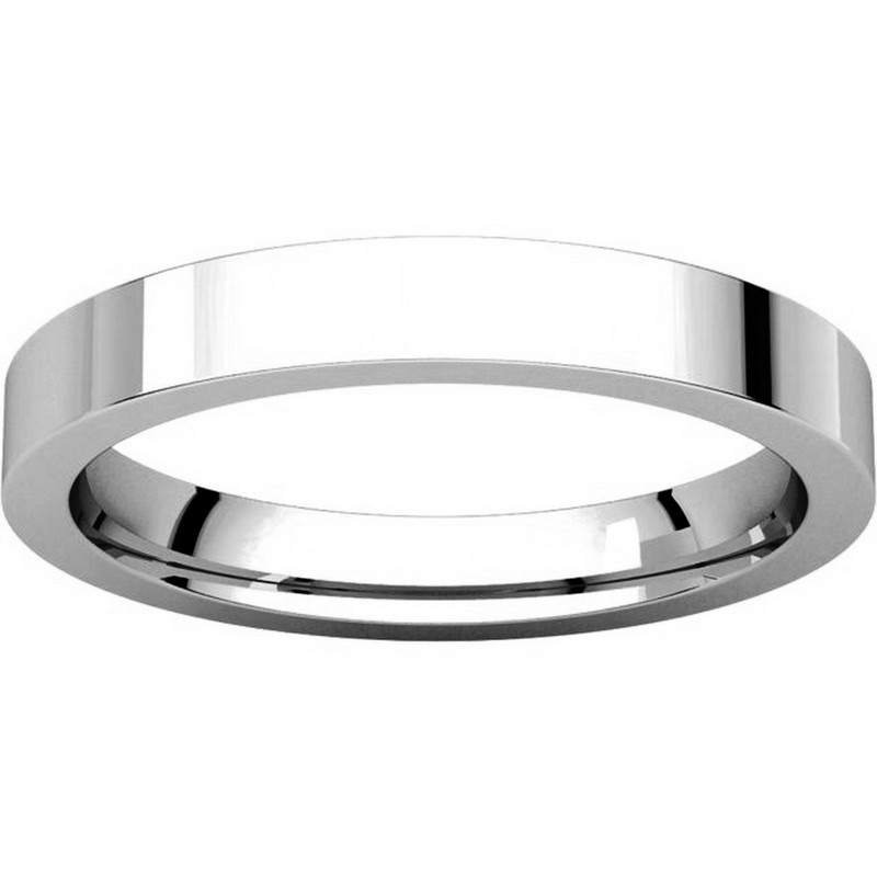 Item # 118381W - White Gold  Flat comfort fit 3mm Band View-3