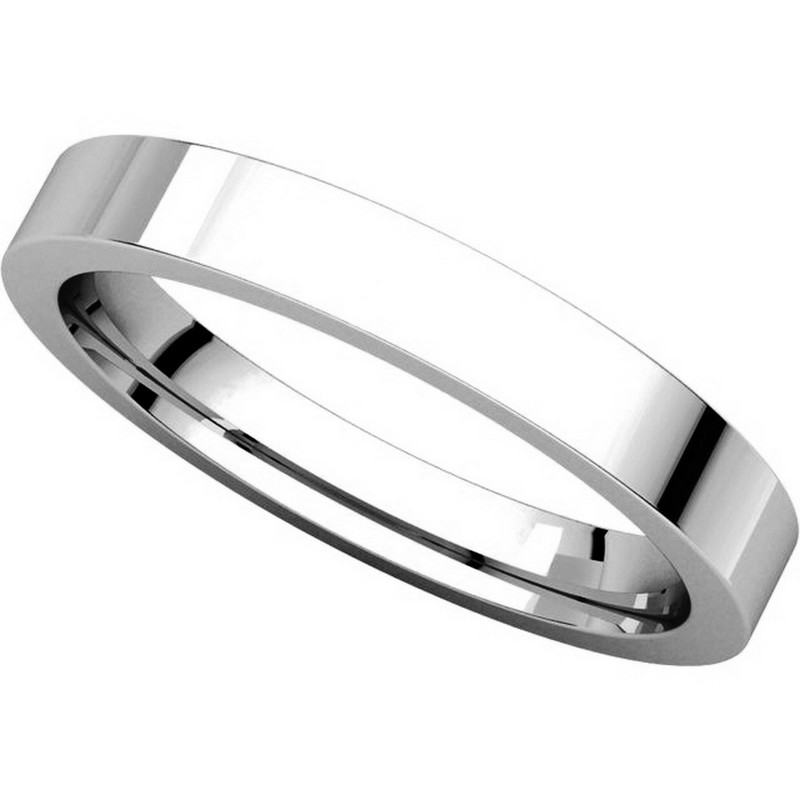 Item # 118381W - White Gold  Flat comfort fit 3mm Band View-4